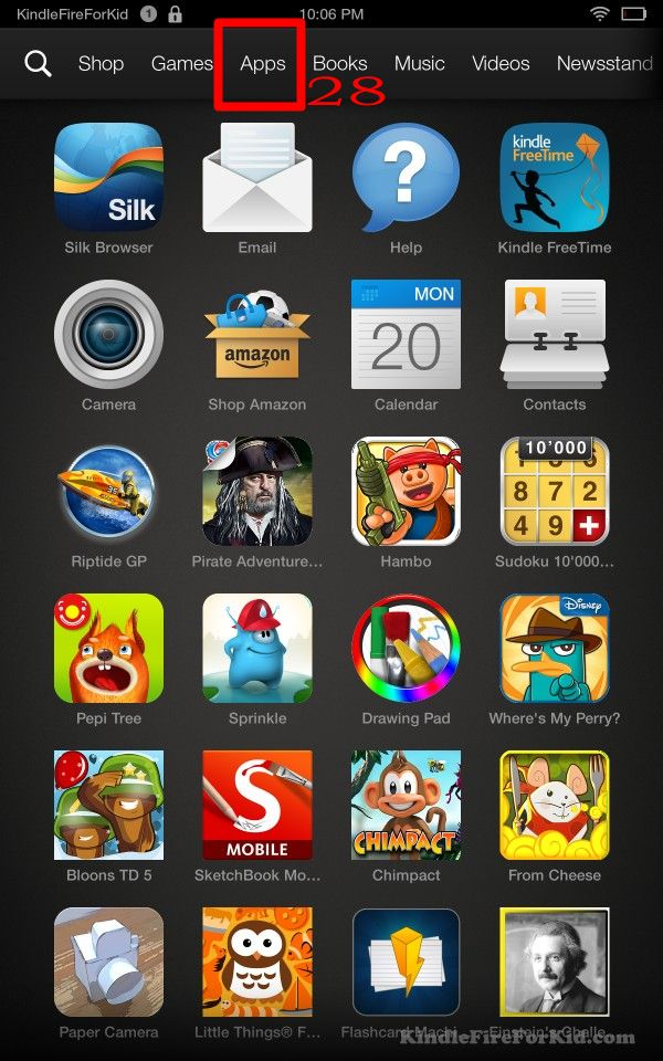 sideload android apps Kindle Fire, Kindle Fire HD and  Kindle Fire HDX : home screen--apps