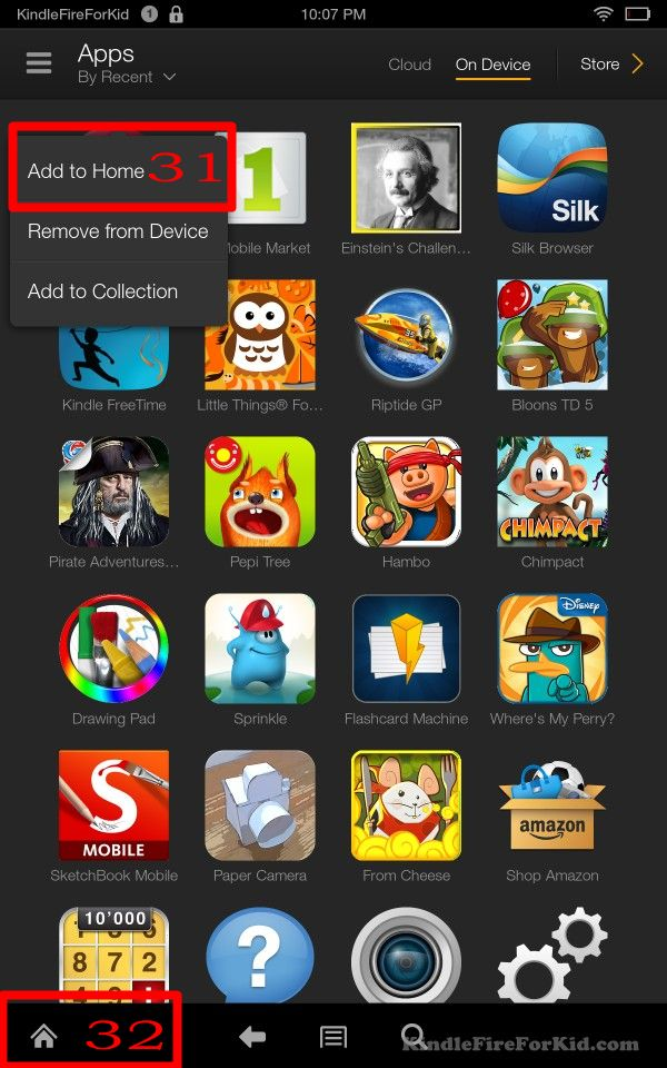 sideload android apps Kindle Fire, Kindle Fire HD and  Kindle Fire HDX :  add Chrome for Android on home screen