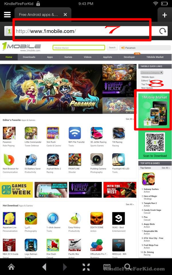 sideload android apps Kindle Fire, Kindle Fire HD and  Kindle Fire HDX: 1mobile app website