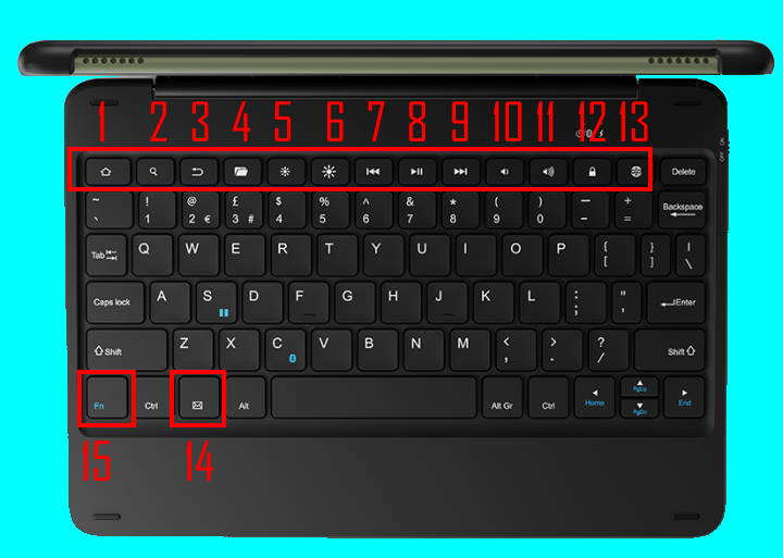 15 special keys on the official wireless keyboard for Amazon Fire HD 10 2021 (and Fire HD 10 Plus)
