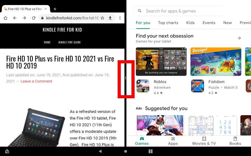 Open the second app in the Split Screen mode